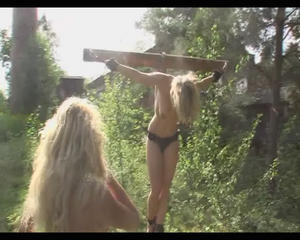 Bondage crucifiction slaves Outdoor